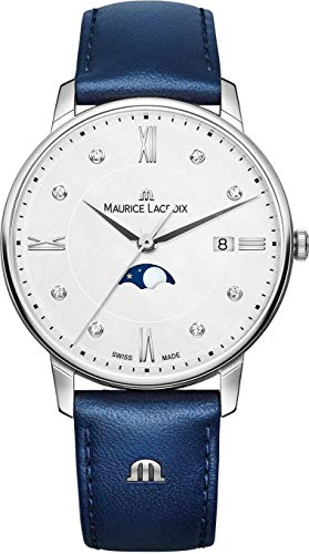 Maurice Lacroix Women's Eliros Moonphase 35mm Watch | Silver/Blue Leather