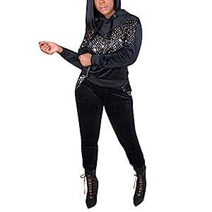 Akmipoem Women's Velour Sweatsuit Set Sequin 2 Piece Outfit Hoodie and Pants Suit Tracksuit