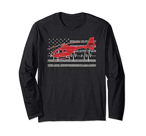 American Flag Flight Medic Heartbeat Long Sleeve Shirt