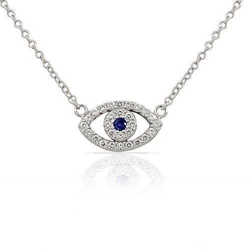 My Daily Styles 925 Sterling Silver Evil Eye White Blue CZ Pendant Necklace