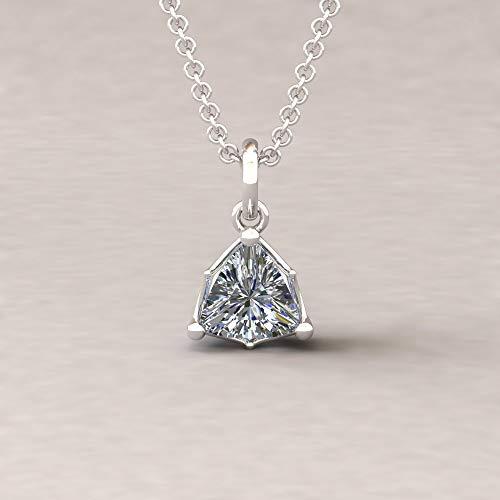(Diamond Trillion Pendant - 6mm Solitaire