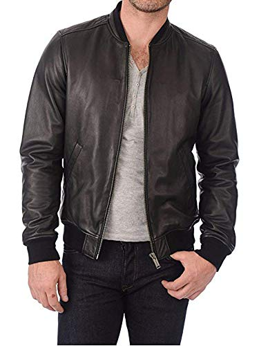 Cloudberry Mens Real Lambskin Bomber Leather Jacket for Men M Black