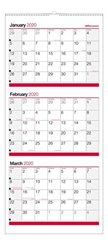 (Office Depot Brand 3-Month Monthly Reference Wall Calendar, 27