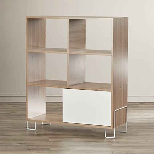 Erica Cube Unit Bookcase with Open Shelves and Sliding Color Door Made of Solid and Manufactured Wood in Oak/White Finish 38.59'' H x 31.69'' W x 12.99'' D - Erica Designs Made