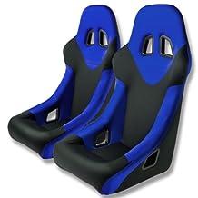 Pair of Tuner Series Black Adjustable Sport Bucket Racing Seats With Blue Trim