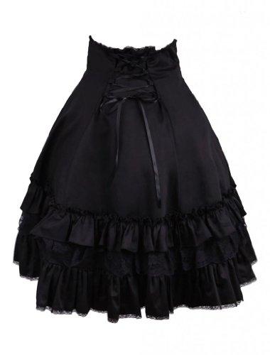 M4U Womens Sweet Cotton Black Ruffles Lolita Skirt