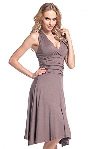 Glamour Empire. Mujer cuello halter Jersey Vestido S-4xl. 145 Cappuccino