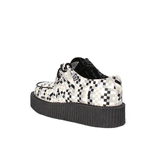 T.U.K. Sneakers Donna Bianco Grigio Pelle AG832 (37 EU)