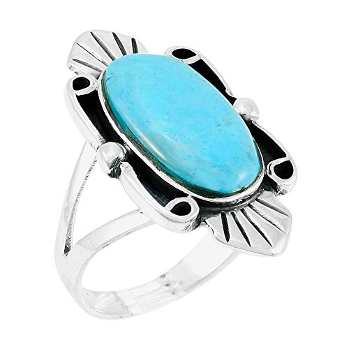 - Turquoise Ring Sterling Silver 925 Genuine Gemstones Size 6 to 11 (Turquoise) (7)
