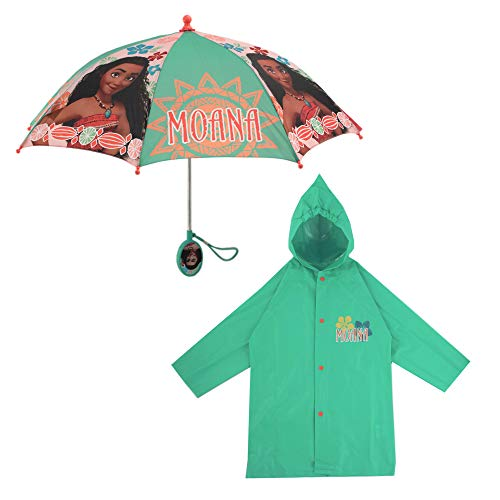 Disney Girls' Little Assorted Characters Slicker and Umbrella Rainwear Set, Moana Green, Age 6-7