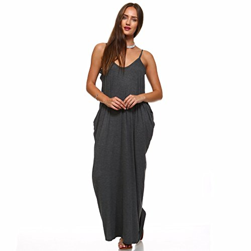 Loose Liev Casual Dress Strap Charcoal Pockets Spaghetti Dress Long Isaac with Maxi Women's qAtx1nHqaw