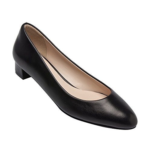 PIC/PAY Fiona - Women's Low Heel Leather Pumps - Classic Almond Toe Slip-On Flat Shoes Black Leather 10M Black Leather Classic Pumps