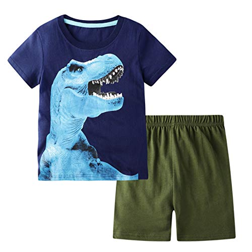 BIBNice Toddler Boys Summer Clothes Short Sleeve Tee&Shorts Sets 3D Print Dinosuar 5t