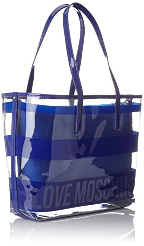 Pu 9x29x40 Moschino cm pu Bleu Trasp Borsa B T H x Blue femme Blu Cabas Love Transperent qB4ERx