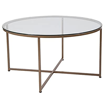 Flash Furniture Greenwich Collection Glass Coffee Table with Matte Gold Frame - Contemporary design Clear tempered Glass surface 6mm thick Glass - living-room-furniture, living-room, coffee-tables - 417IxRxnPHL. SS400  -