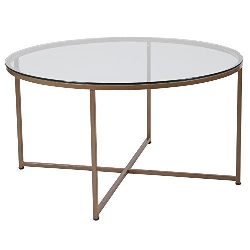 Flash Furniture Greenwich Collection Glass Coffee Table with Matte Gold Frame - NAN-JH-1786CT-GG