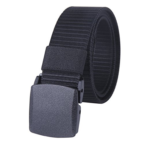 JINIU Nylon Canvas Military Tactical Men Waist Web Belt With Plastic Buckle Black Color (Black Guy Punch Halloween)