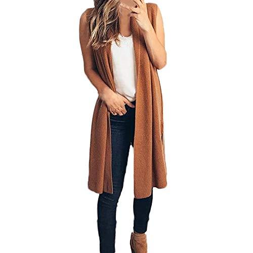 JOFOW Womens Long Sleeveless Cardigan,Solid Straight Slim Jacket Cool Chic Kimono Lightweight Thin Open Front Coat (M,Coffee)