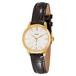 Starking Men's White Dial Leather Band Watch - BL0829GL91
