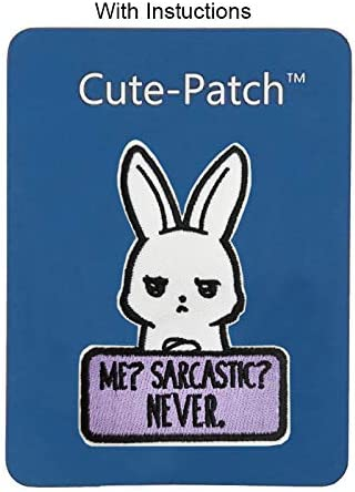 3.5 Me Sarcastic Never Embroidered Iron on sew on Patch Applique Funny Bunny Rabbit Meme