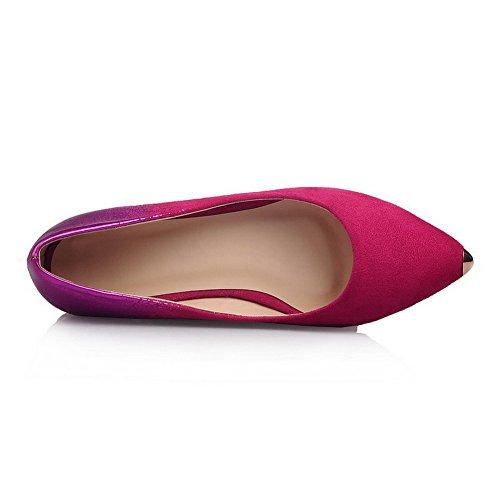 Allhqfashion Donna A Punta Chiusa Tacco Basso Tira Su Assortiti Colori Scarpe-scarpe Rosate