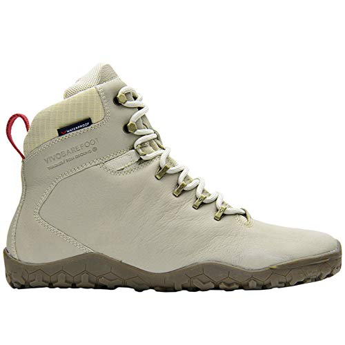 Vivobarefoot Tracker Fg, Mens Leather Waterproof Hiking Boot with Barefoot Firm Ground Sole & Thermal Protection, Cement Cream Leather, 45