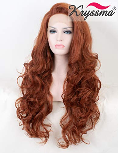 K'ryssma #350 Copper Red Lace Front Wig Glueless Auburn Long Wavy Synthetic Wigs for Women 24 inches Ginger Synthetic Wig Heat -