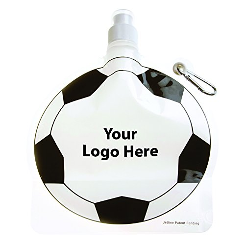 HydroPouch! 24 Oz. Soccer Ball Collapsible Water Bottle Patented - 100 Quantity - $3.40 Each - PROMOTIONAL PRODUCT / BULK / BRANDED with YOUR LOGO / CUSTOMIZED by Sunrise Identity