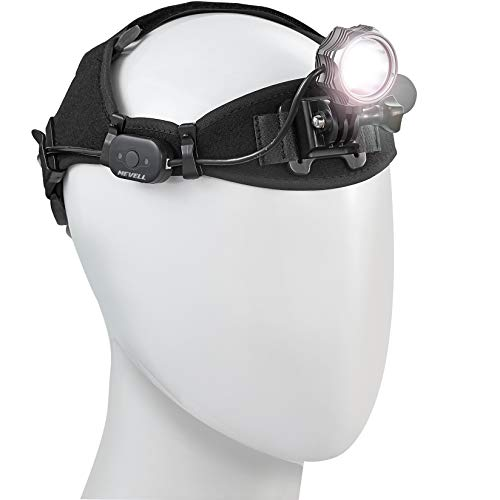 Mevell F601 USB Rechargeable Headlamp - Super Bright 600 Lumens LED Heavy Duty Head lamp with Removable Battery, Free Carrying Case Included, Perfect for Hiking Camping Riding Fishing Hunting ()