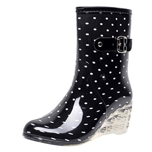 Goddessvan Punk Style Mid Snow Boots Women's Non-Slip Soft Rain Footwear Outdoor Transparent Wedge Rubber Water Shoes ()