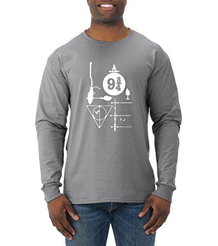 Wild Bobby Harry Potter Fan | Love Design | Mens Pop Culture Long Sleeve Tee Graphic T-Shirt, Heather Grey, - Love Culture Shop