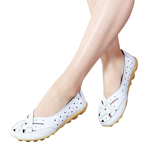Aunimeifly Womens Round Head Peas Shoes Hollow Hole Shoes Sandals Casual Shoes Flat Shoes White ()
