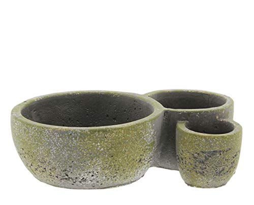 Three Section Cement Planter with Faux Mossy Look (Short)