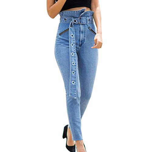 Homeparty Skinny High Waisted Jeans Women Flower Bud Pocket Pants Trousers + Belt Blue (Flower Two Lei Tone)