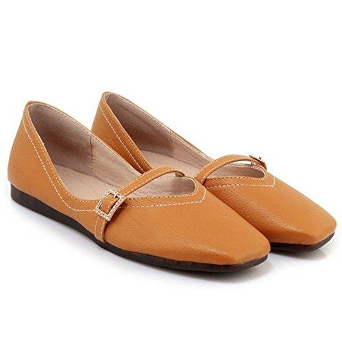 TAOFFEN Women's Ballerina Flat Shoes Yellow-40 rRRjp