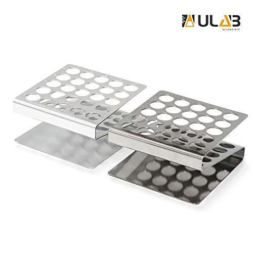 ULAB Scientific Test Tube Rack Set, Z Shape, 1pc in Stainless Steel, 1pc in Aluminum, UTR1003 (Test Tube Rack Metal)