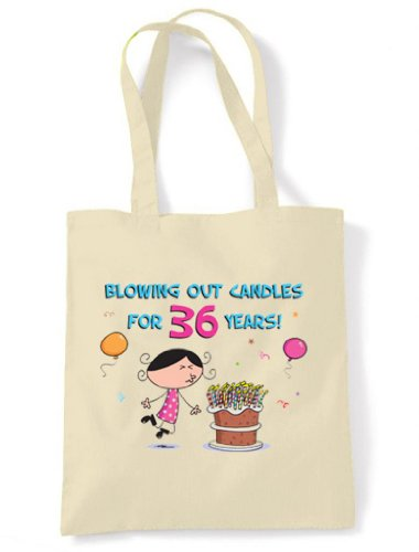 Birthday Years Tote Candles Cotton Cream Shoulder 36th Out Unbleached for Bag 36 Blowing IwUxq11Y