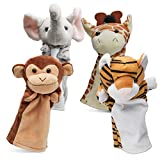 Hand Puppets Jungle Friends [Set of 4] | Elephant, Giraffe, Tiger & Monkey Stuffed Plush Animal Toys...