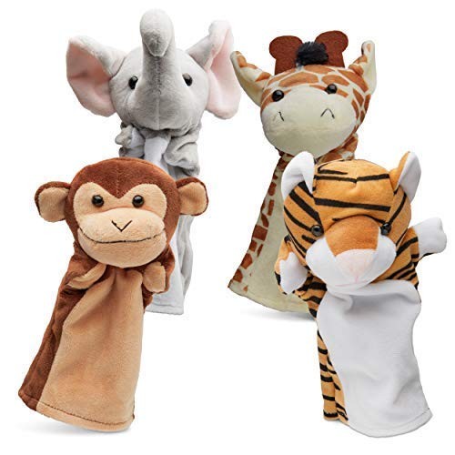 Hand Puppets Jungle Friends [Set of 4] | Elephant, Giraffe, Tiger & Monkey Stuffed Plush Animal Toys for Boys & Girls | Perfect for Storytelling, Teaching, Preschool & Role-Play ()