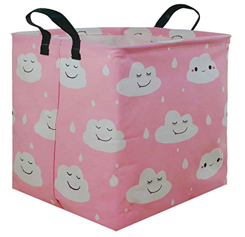 HUAYEE Square Storage Bin Canvas Fabric Storage Basket, Waterproof Coating Toy Organizer with Handles, Gift Basket for Home, Office, Clothes, Toy, Shelf Basket (Square Pink Clouds)
