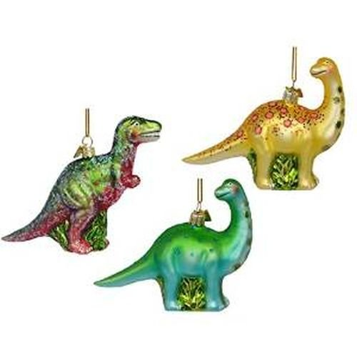 Dinosaurs Prehistoric Animals Set of 3 Glass Ornaments Christmas T-Rex