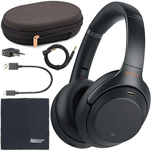 Sony WH-1000XM3 Wireless Noise-Canceling Over-Ear Headphones (Black) WH1000XM3/B + AOM Bundle – International Version (1 Year AOM Warranty)