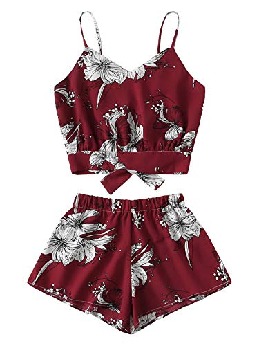 Verdusa Women's Knot Back Cami Top with Shorts Set Red Flower -