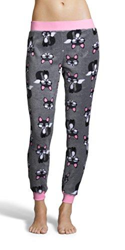 Sleep & Co. Women's Super Soft and Comfortable Skinny Fleece Pajama Cat Print Pant Grey - Cat Skinny The