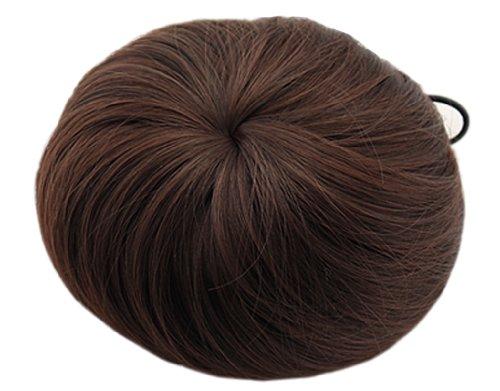 BONAMART ® Fashion Donut Clip-on Dish Hair Bun Tray Ponytail Extension Hairpiece Wig Dark Brown (Brown Ponytail Wig)