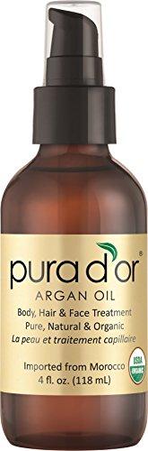 PURA D'OR Moroccan Argan Oil 100% Pure & USDA Organic For Face, Hair, Skin & Nails, 4 Fluid Ounce