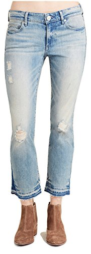 True Religion Women's Cora Mid Rise Straight Crop Jean, Blue Dream Destroyed, 26 (Religion Cropped True Jeans)
