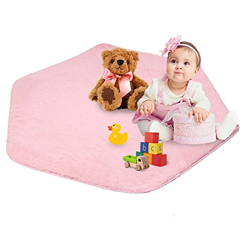 beebeerun Kids Play Mat Plush Carpet Rug Hexagon Coral Play Mat Rug for Princess Tent
