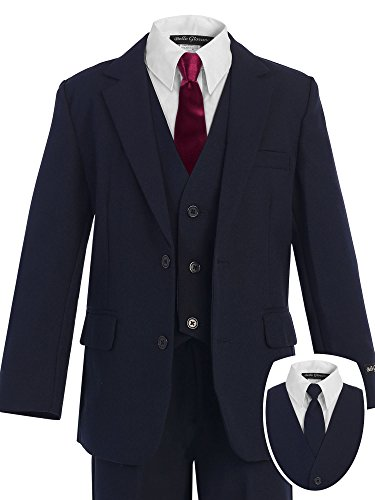 Bello Giovane Boys Navy Formal Dress Slim Suit set with