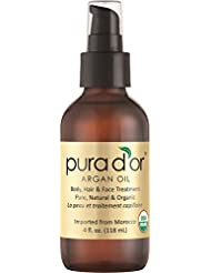 PURA D'OR Moroccan Argan Oil 100% Pure & USDA Organic...